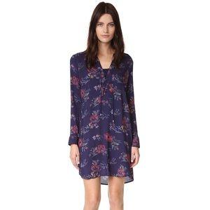 Splendid Lace Up Floral Shirt Dress
